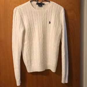 Ralph Lauren Cable Knit White Sweater